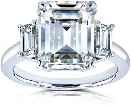 Kobelli 5 1/2 Carat TGW Three Stone Emerald Cut Moissanite Statement Engagement Ring in 14k White Gold
