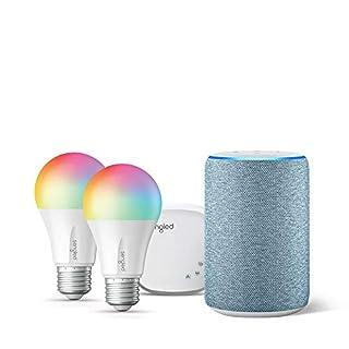 Echo (3rd Gen) Twilight Blue Bundle with Senged 2-pack smart bulb color starter kit