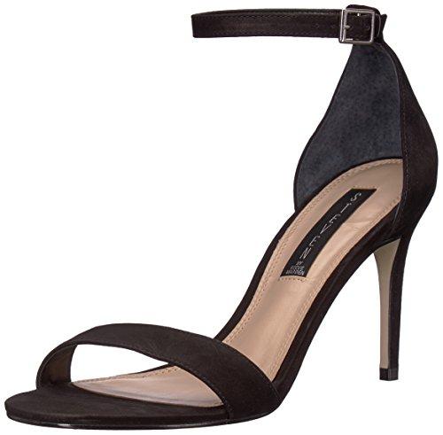 STEVEN by Steve Madden Women's Naylor Heeled Sandal, Black Nubuck, 7.5 M US