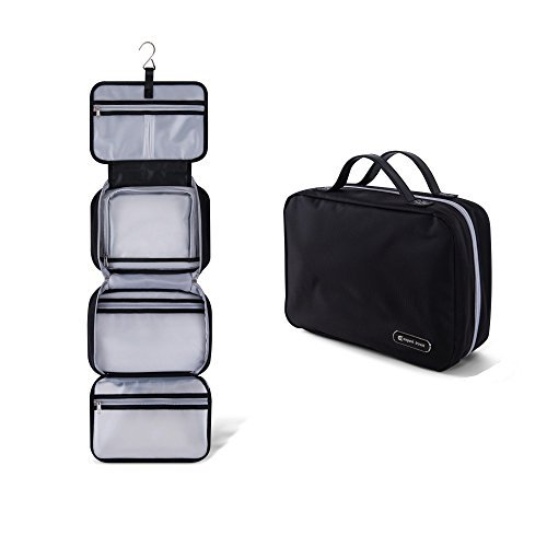 Hanging Travel Toiletry Bag for Men and Women   Makeup Bag   Cosmetic Bag   Bathroom and Shower Organizer Kit   Leak Proof   2 Sizes - Large (34'x11') & XL Family Size (42'x13')