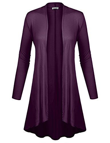 BIADANI Women Long Sleeve Classic Lightweight Open Front Jersey Cardigan Eggplant - Eggplant Short Classic