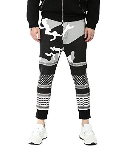 wiberlux-neil-barrett-mens-geometric-camo-print-jogger-pants-l-black