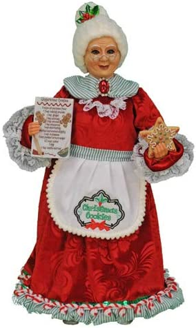 Karen Didion Originals Mrs. Kitchen Claus Figurine, 16 Inches – Handmade Christmas Holiday Home Decorations and Collectibles