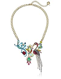 Betsey Johnson (GBG) Paradise Lost Women's Blue Lizard and Purple Flamingo Frontal Pendant Necklace, Multi, One Size