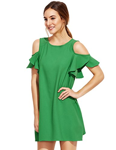 Milumia Women's Summer Cold Shoulder Ruffle Sleeves Shift Dress Green L Photo #6