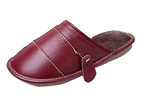 Cattior Womens Leather Fleece Lined Indoor Slippers House Slippers Deep Red jE1gKh