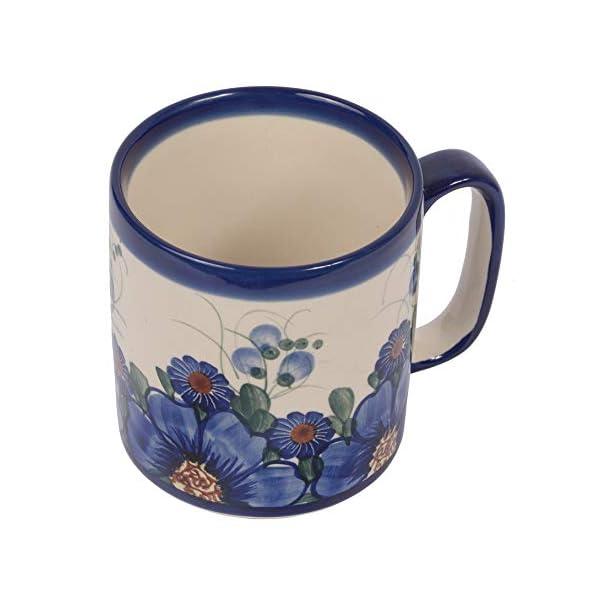 Traditional Polish Pottery, Handcrafted Ceramic Roller Mug (400 ml), Boleslawiec Style Pattern, Q.201.PASSION