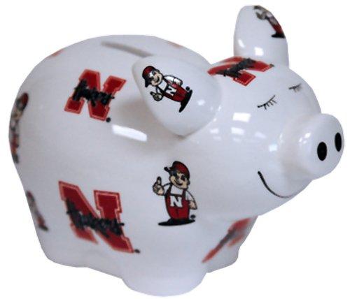 NCAA Nebraska Cornhuskers Piggy Bank with All Over Logo