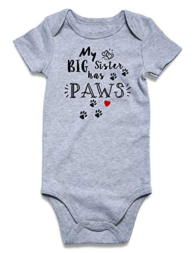 Baby Romper Jumpsuit Soft Unisex Baby Costume Print Baby Bodysuit My Big Sister Has Paws Breathable Lovely Short-Sleeve Newborn One-Piece 0-3 Months ()