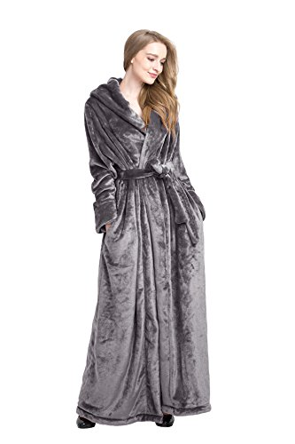 Find Dress Women's Extra Long Microfiber Fleece Bathrobe Robe Grey (178 Bath)