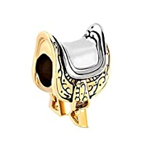 Charmed Craft Gold Tone Horseshoe Equestrian Lover Saddle Charms Bead Fit Pandora Charm Bracelets