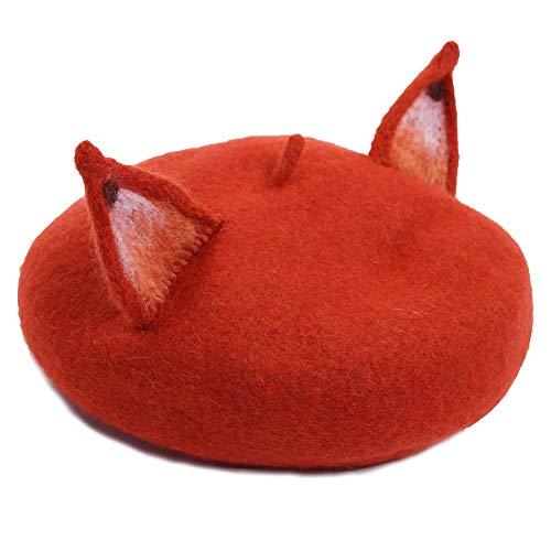 Wool Beret Hats Teen GirlsStretch Fox Ears Vintage Beanie Cap Casual Winter Warm