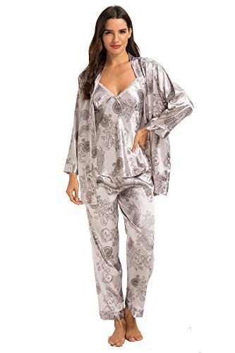 HOUSEPLANT Women's Floral Silk Satin Pajamas Set Sleepwear 3Pcs M ()