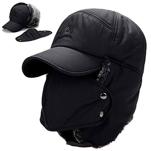 4d18b38fdd7 Image Unavailable. Image not available for. Color: Mens Warm Hat Winter  Trapper Trooper Cap Ushanka Soft Ear Flap Chin Strap Windproof Mask Faux