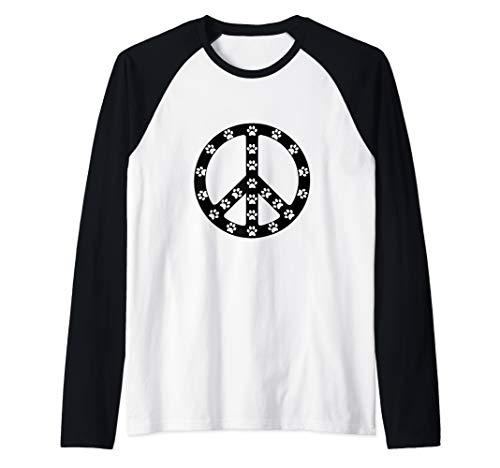 Dog Paw Print Peace Sign  Raglan Baseball ()