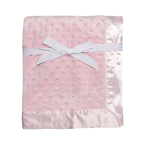 "Baby Starters Textured Dot Blanket with Satin Trim, Pink 30"" x 40"""