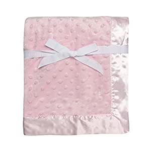 """Baby Starters Textured Dot Blanket with Satin Trim, Pink 30"""" x 40"""""""