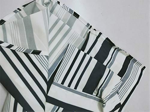 Camicia Autunno Righe Irregolare Cime Casuali Scollo Bianco per Donne Classico Orlo A Chiffon Chiusura Primavera Manica Lunga con A ShallGood Elegante Bottoni V wXZTxA1