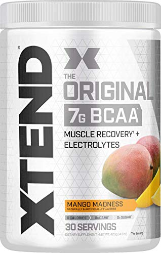 Scivation Xtend BCAA Powder, 7g BCAAs, Branched Chain Amino Acids, Keto Friendly, Mango Madness, 30 Servings