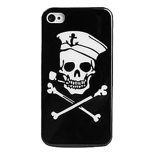 HP- Cráneo estilo pirata protectora para el iPhone 4 y 4S (negro)