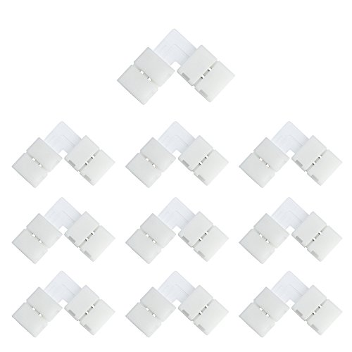 LightingWill 10pcs Pack L Shape Solderless Snap Down 2 Pin LED Strip Connector for Right Angle Corner or 90 Angle Turning Connection of 10mm Wide 5050 5630 Single Color Flex LED Strips
