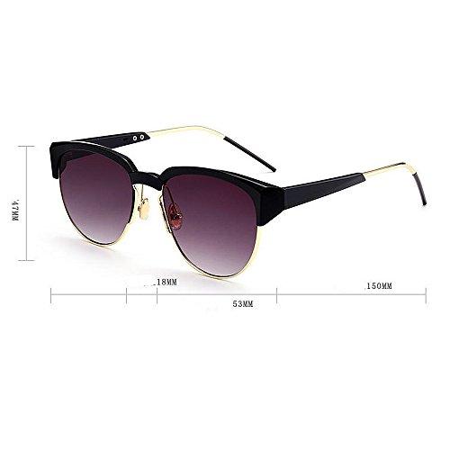Sol Gu Gafas Forma Aire C6 al C6 Unisex UV Conducción Lente Redonda Color Peggy Protección Semi Rimless de de Color Libre Viajar vd8nBq