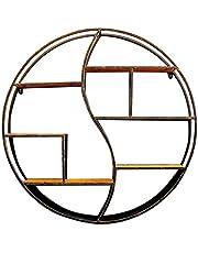 80 cm rund vägghylla, trä och svart metallmonterade hyllor, flytande hylldesign för vardagsrum, kök, sovrum, förmonterade dekorativa hyllor