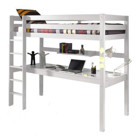 Alfred & Compagnie - Cama alta (90 x 200 cm, con escritorio de pino), color bl