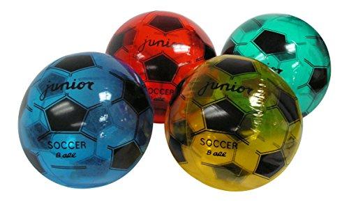 6 Pack - 16' Inflatable Soccer Futbol Design Clear Beach Balls - Asst'd Colors