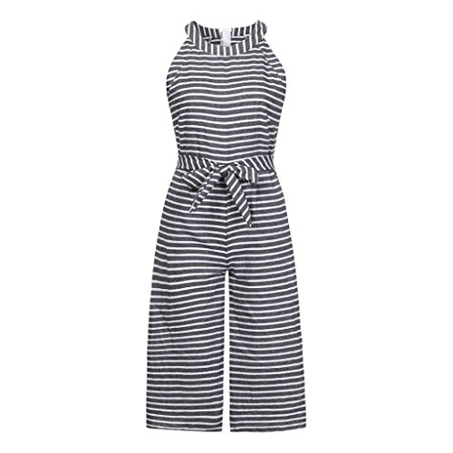 (Bravetoshop Casual Adjustable Waistband Bow Jumpsuits Striped Wide Leg Playsuits (Gray, L) )