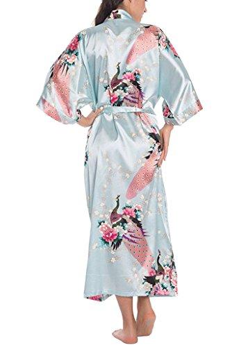 Kimono Robes Peacock Y Blossoms Satin Nightwear Estilo De Noche Para Las Mujeres Azul claro