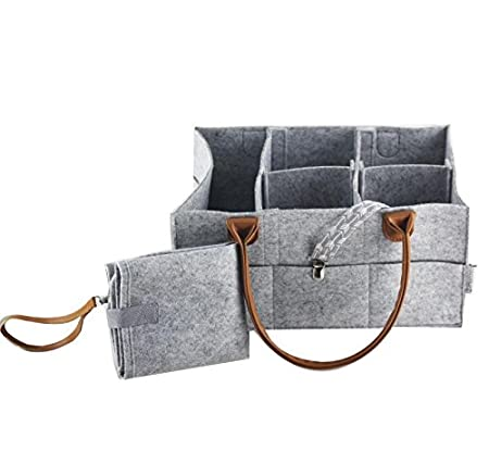 Coconut Diaper Caddy Organizer with Changing Pad | Storage for Diapers, Wipes & Toys | Portable Car Organizer (Grey with Light Brown Leather) Little Coconut Shop