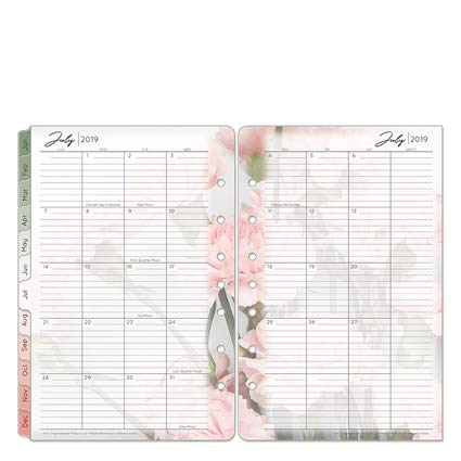 Blooms Two Page Monthly Calendar - Classic Blooms Two Page Monthly Ring-Bound Tabs - Jul 2019 - Jun 2020