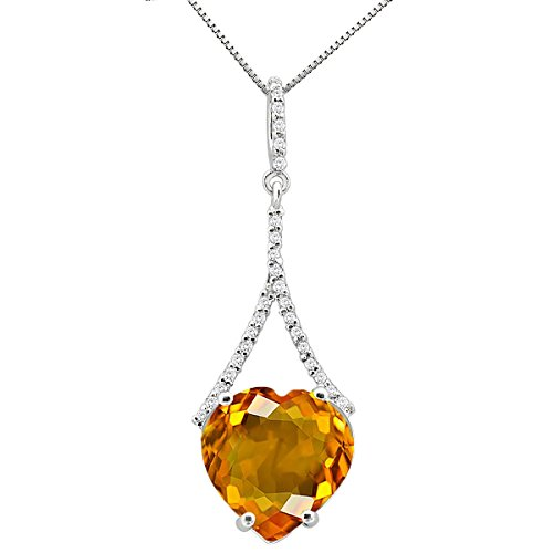 10k Gold 18' Chain - 4.75Ct Ttw Beautiful Diamond And Heart Shape Gemstone Pendant In 10K White Gold With 18'' Chain