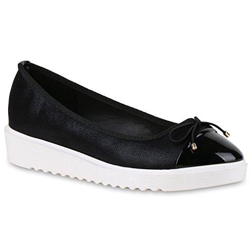 Damen Slipper Loafers Lack Metallic Schuhe Flats Profilsohle Flandell Schwarz Schleife