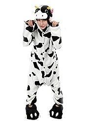 FashionFits Unisex Winter Flannel Hoodie Jumpsuit Romper Milk Cow Onesie Pyjamas