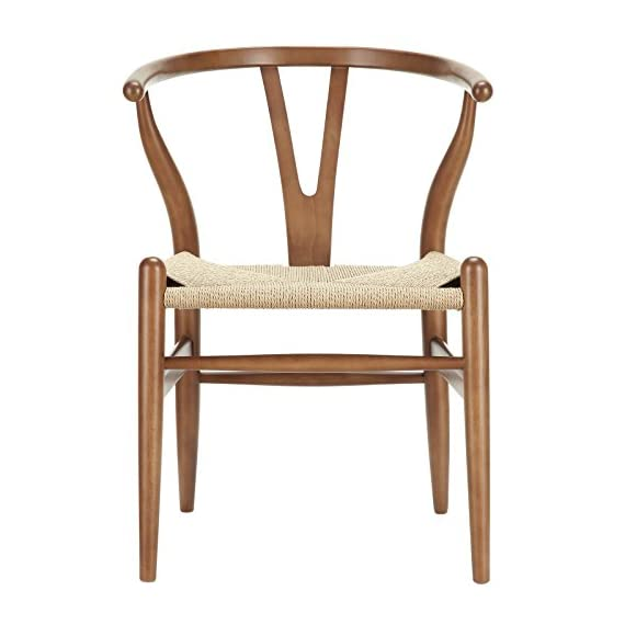 Poly and Bark Weave Modern Wooden Mid-Century Dining Chair, Hemp Seat, Walnut (Set of 2) - Set of 2 wood chairs Solid wood frame 100% natural hemp woven rope cord seat - kitchen-dining-room-furniture, kitchen-dining-room, kitchen-dining-room-chairs - 41T64rOm4fL. SS570  -