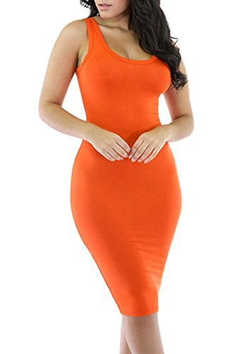 Merry21 Womens Scoop Neck Sleeveless Mid length Bodycon Tank Dress L Orange (Neck Scoop Sleeveless Dress)