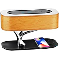 Bluetooth Speaker with Qi Wireless Charger, Cshidworld Super Bass Stereo Speaker, Dimmable LED Desk Lamp, Touch-Sensitive Control Night Light Bedside Lamp for iPhone 8/8Plus and iPhone X
