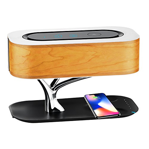 (Bedside Lamp with Bluetooth Speaker Wireless Charging Docking Station, Super Bass Stereo Subwoofer Dimmable LED Desk Lamp for All Qi-Enabled Devices)