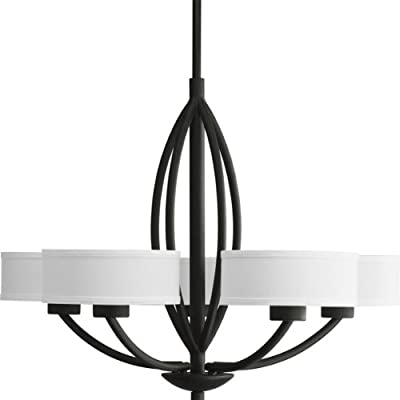 Progress Lighting P4539-80 Calven Five Light Chandelier, Forged Black Finish with White Fabric Shade - Beige linen shade 30-Inch Diameter x 23-Inch Height Forged Black - kitchen-dining-room-decor, kitchen-dining-room, chandeliers-lighting - 41T6592kMhL. SS400  -