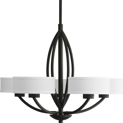 Progress Lighting P4539-80 Calven Five Light Chandelier, Forged Black Finish with White Fabric (Forged Iron 5 Light Chandelier)
