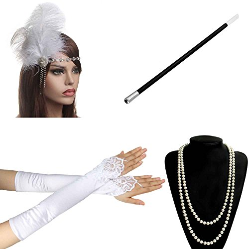 1920s 30s Gatsby Flapper Costume Accessories Feather Headband Earrings Pearl Necklace Gloves Cigarette Holder (Cheap Hollywood Fancy Dress Costumes)