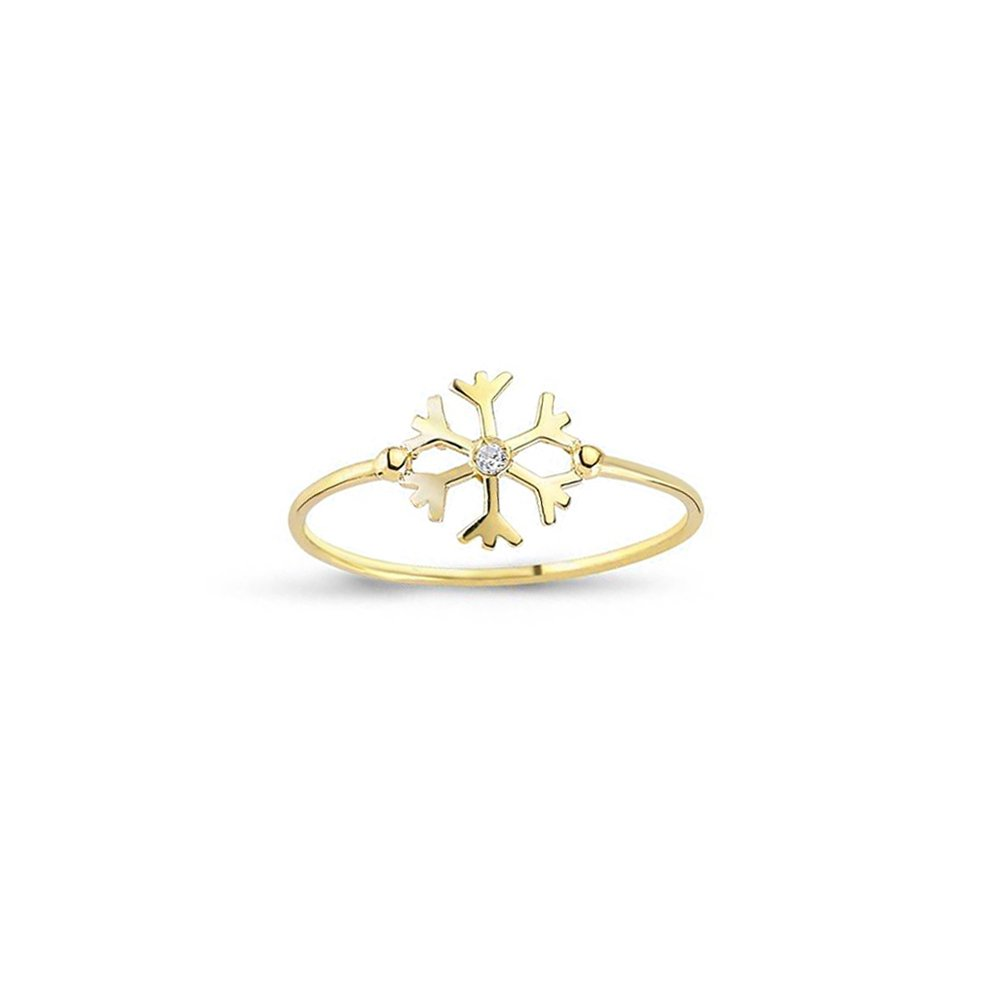 Snowflake Ring 14k Solid Yellow Gold Ring 1.10 gr For Women Dainty Ring Fine Ring Size 4.5