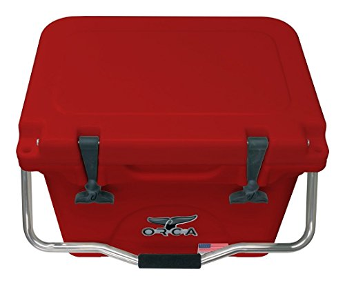 ORCA ORCRE RE020 Cooler with Single Flex-Grip Stainless Steel Handle for Simple Solo Portage, 20 quart, Red Red