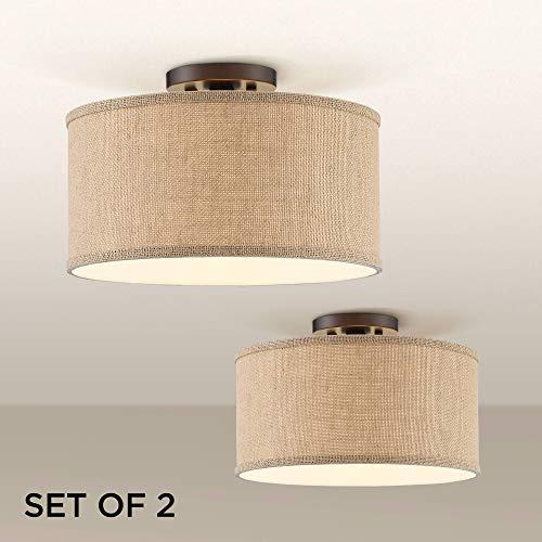 Adams Burlap Drum Shade Ceiling Lights Set of 2-360 - Newport Chandelier Ceiling