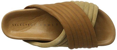 Cognac Selected Brown Sandals Sfadina Slider Open Women's Cognac vYwYaOqZ7