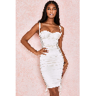 Clothing : Bodycon Dresses : 'Angelina' Ivory Satin Lace Up Corset Dress