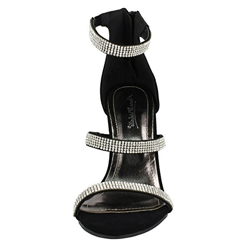 Anne Michelle Ladies Diamante Strappy Sandals Black IxVzH