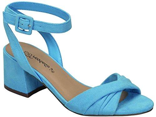 Breckelles Womens Strappy Torsione Anteriore Open Toe Blocco Sandalo Tacco Blu